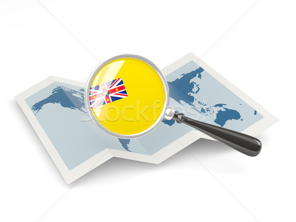 Magnified flag of niue with map Stock photo © MikhailMishchenko