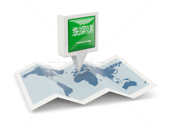 Square pin with flag of saudi arabia on the map Stock photo © MikhailMishchenko
