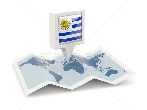 квадратный Pin флаг Уругвай карта путешествия Сток-фото © MikhailMishchenko