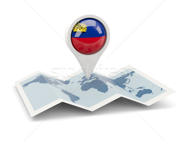 Pin bandiera Liechtenstein mappa viaggio bianco Foto d'archivio © MikhailMishchenko