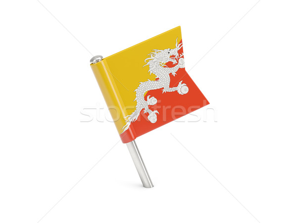 Bandeira pin Butão isolado branco viajar Foto stock © MikhailMishchenko