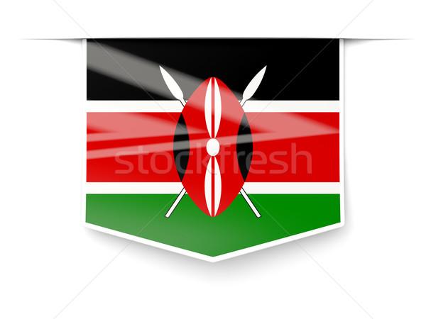 Tér címke zászló Kenya izolált fehér Stock fotó © MikhailMishchenko