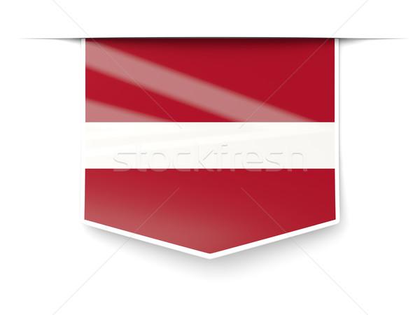 Vierkante label vlag Letland geïsoleerd witte Stockfoto © MikhailMishchenko
