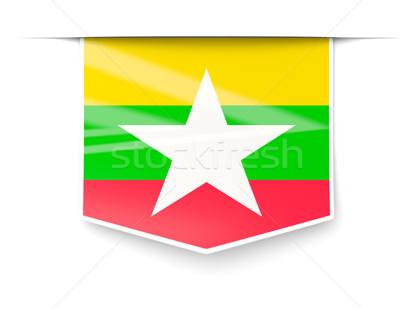 Square label with flag of myanmar Stock photo © MikhailMishchenko