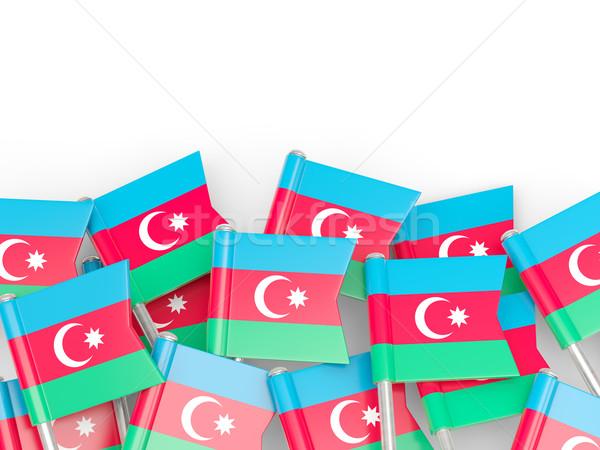 Vlag pin Azerbeidzjan geïsoleerd witte achtergrond Stockfoto © MikhailMishchenko