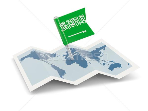 Mapa bandeira Arábia Saudita isolado branco Foto stock © MikhailMishchenko