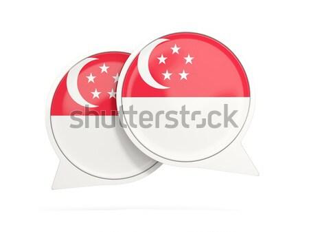 Adesivo bandiera Singapore isolato bianco viaggio Foto d'archivio © MikhailMishchenko
