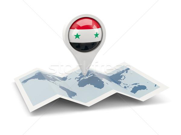 Pin vlag Syrië kaart reizen witte Stockfoto © MikhailMishchenko