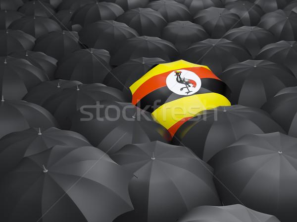 Parapluie pavillon Ouganda noir parapluies Voyage Photo stock © MikhailMishchenko