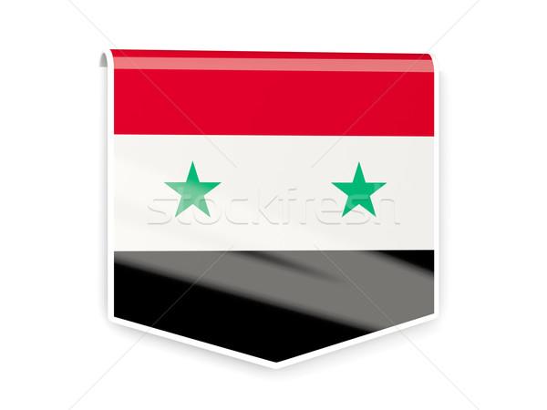 Vlag label Syrië geïsoleerd witte teken Stockfoto © MikhailMishchenko
