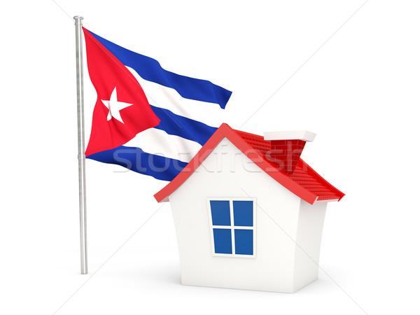 дома флаг Куба изолированный белый домой Сток-фото © MikhailMishchenko