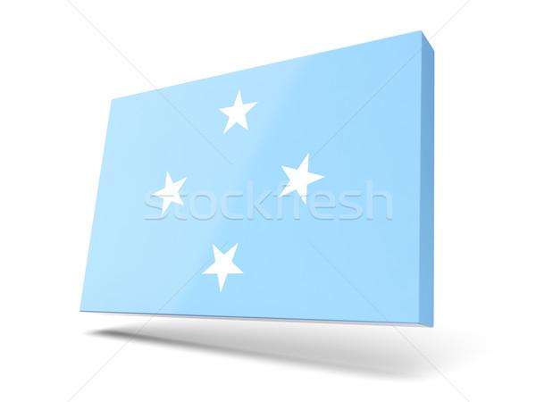 Praça ícone bandeira Micronésia isolado branco Foto stock © MikhailMishchenko