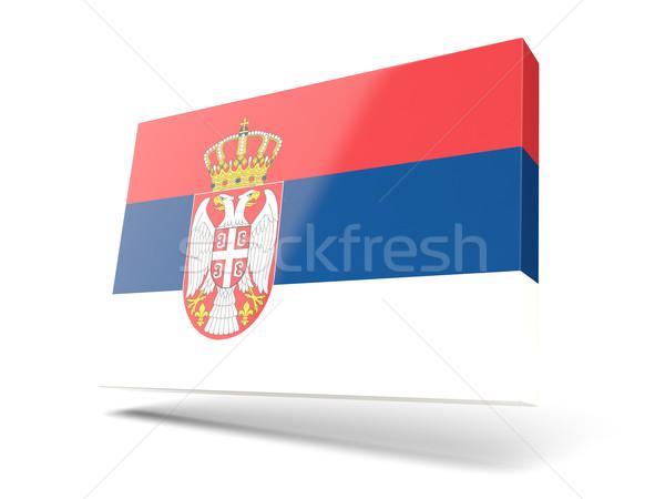 Kare ikon bayrak Sırbistan yalıtılmış beyaz Stok fotoğraf © MikhailMishchenko