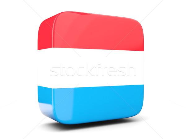 Vierkante icon vlag Luxemburg 3d illustration geïsoleerd Stockfoto © MikhailMishchenko