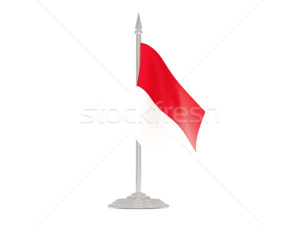 флаг Монако флагшток 3d визуализации изолированный белый Сток-фото © MikhailMishchenko