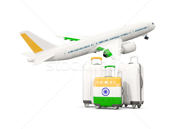 Luggage with flag of india. Three bags with airplane Stock photo © MikhailMishchenko