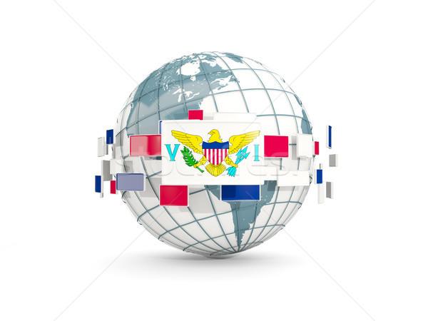 Globe with flag of virgin islands us isolated on white Stock photo © MikhailMishchenko