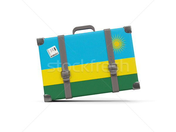 Bagages pavillon Rwanda valise isolé blanche Photo stock © MikhailMishchenko