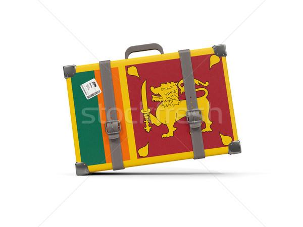 Luggage with flag of sri lanka. Suitcase isolated on white Stock photo © MikhailMishchenko