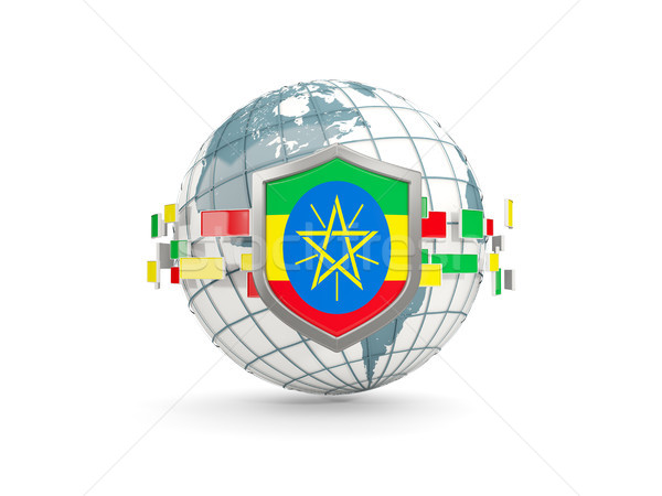Globe and shield with flag of ethiopia isolated on white Stock photo © MikhailMishchenko
