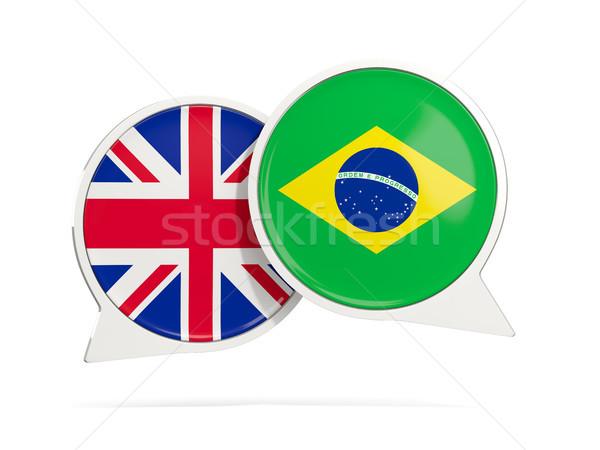 Chat bubbles of UK and Brazil isolated on white Stock photo © MikhailMishchenko