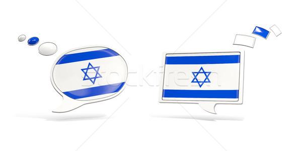Dwa chat ikona banderą Izrael placu Zdjęcia stock © MikhailMishchenko