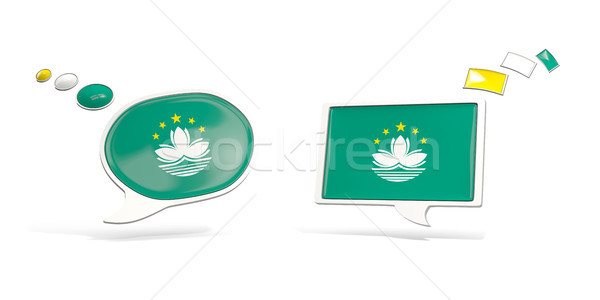 Two chat icons with flag of macao Stock photo © MikhailMishchenko