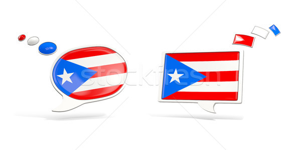 Twee chat iconen vlag Puerto Rico vierkante Stockfoto © MikhailMishchenko