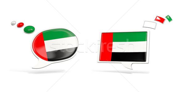 два чате иконки флаг Объединенные Арабские Эмираты квадратный Сток-фото © MikhailMishchenko