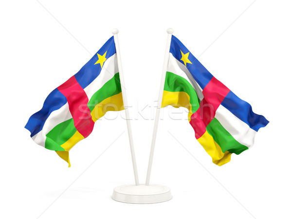 Two waving flags of central african republic Stock photo © MikhailMishchenko