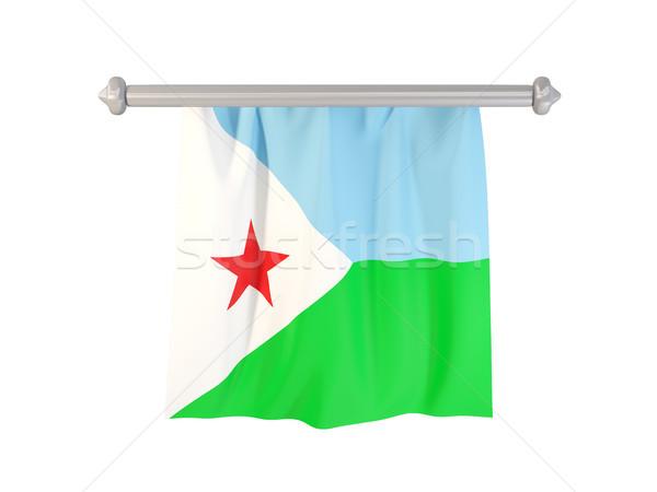 Banderą Dżibuti odizolowany biały 3d ilustracji etykiety Zdjęcia stock © MikhailMishchenko