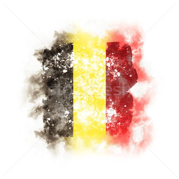 Vierkante grunge vlag België 3d illustration retro Stockfoto © MikhailMishchenko