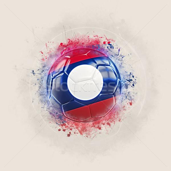 Grunge piłka nożna banderą Laos 3d ilustracji świat Zdjęcia stock © MikhailMishchenko