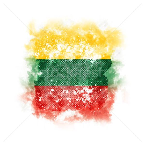 Vierkante grunge vlag Litouwen 3d illustration retro Stockfoto © MikhailMishchenko