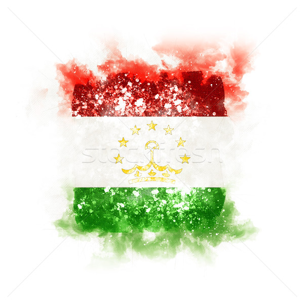 Tér grunge zászló Tádzsikisztán 3d illusztráció retro Stock fotó © MikhailMishchenko