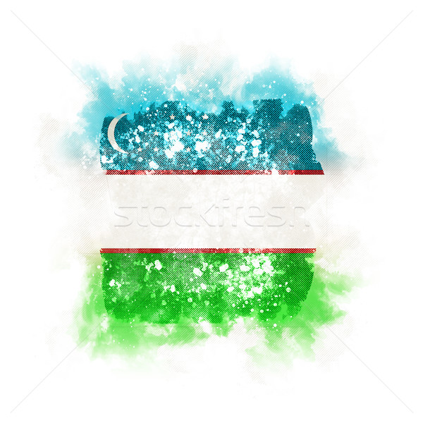 квадратный Гранж флаг Узбекистан 3d иллюстрации ретро Сток-фото © MikhailMishchenko
