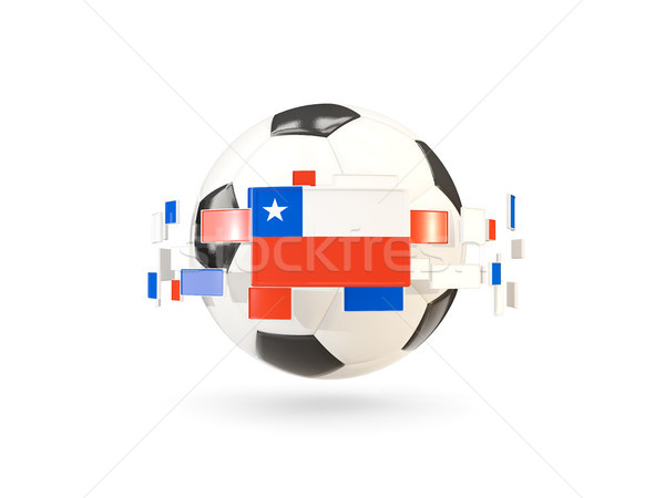 Soccer ball with line of flags. Flag of chile Stock photo © MikhailMishchenko