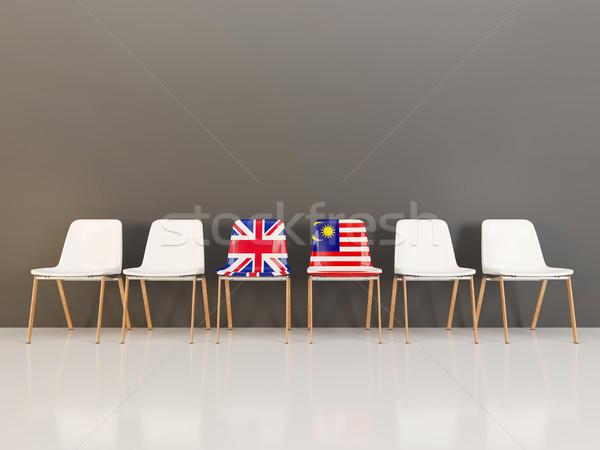 Székek zászló Egyesült Királyság Malajzia csetepaté 3d illusztráció Stock fotó © MikhailMishchenko