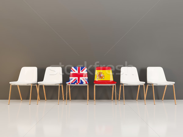 Chairs with flag of United Kingdom and spain Stock photo © MikhailMishchenko