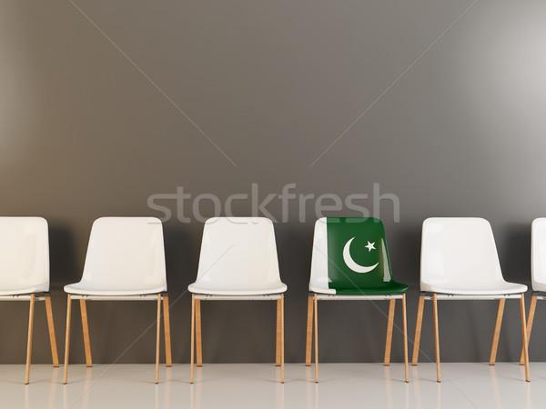 Stockfoto: Stoel · vlag · Pakistan · rij · witte · stoelen