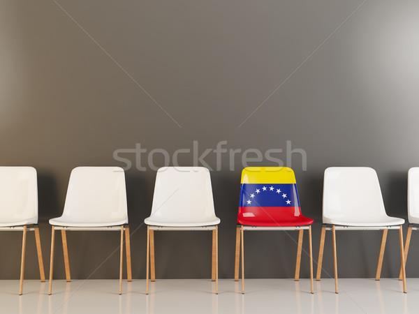 Stoel vlag Venezuela rij witte stoelen Stockfoto © MikhailMishchenko