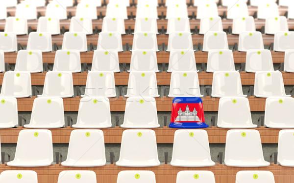 Stadion zitting vlag Cambodja rij witte Stockfoto © MikhailMishchenko
