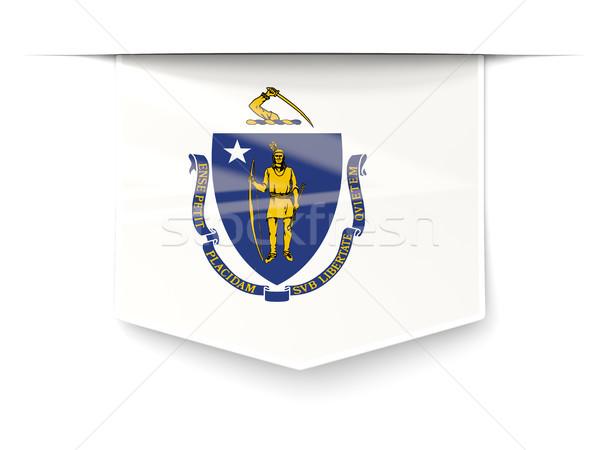 Массачусетс флаг квадратный Label тень Соединенные Штаты Сток-фото © MikhailMishchenko