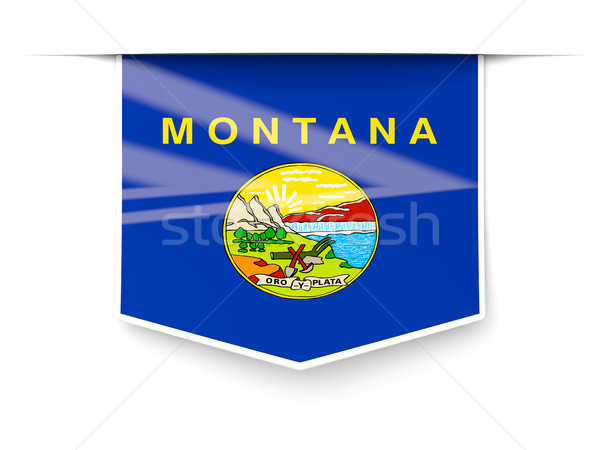 montana state flag square label with shadow. United states local Stock photo © MikhailMishchenko