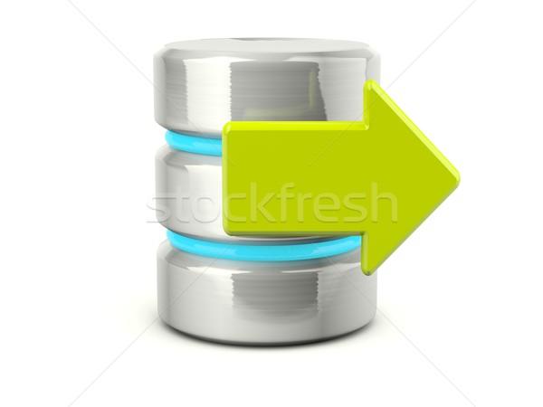 Foto stock: Salida · datos · icono · metálico · aislado · blanco