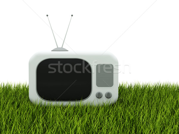 TV on green grass Stock photo © MikhailMishchenko