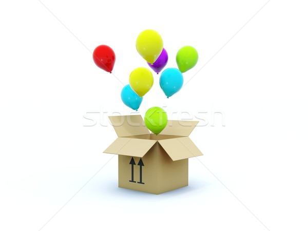 Box with air balloons Stock photo © MikhailMishchenko