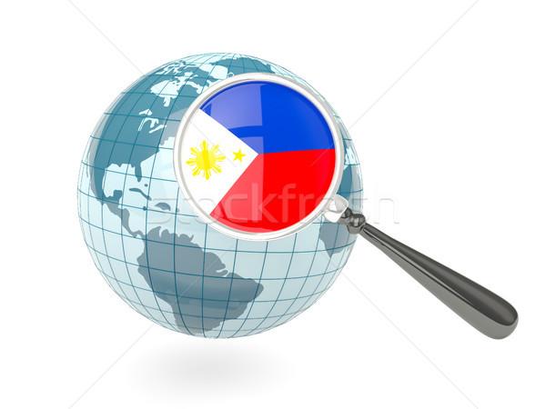 ストックフォト: 拡大された · フラグ · フィリピン · 青 · 世界中 · 孤立した