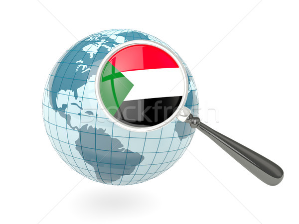 Magnified flag of sudan with blue globe Stock photo © MikhailMishchenko