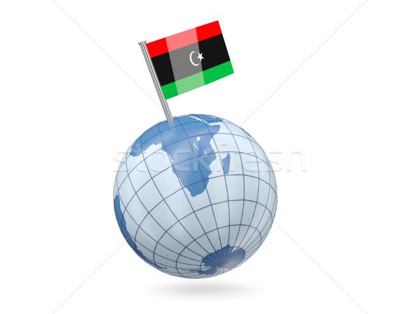 świecie banderą Libia niebieski odizolowany biały Zdjęcia stock © MikhailMishchenko
